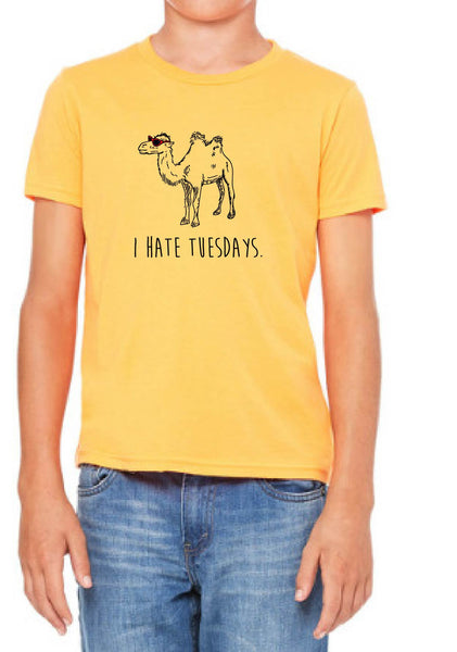 "Youth ""I Hate Tuesdays"" Camel Short Sleeve T-Shirt"