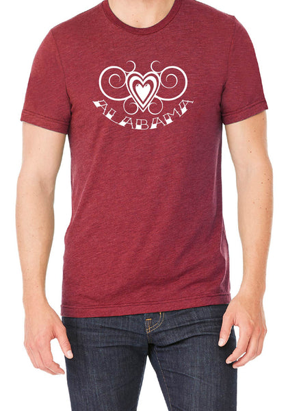 Men's Alabama Heart Design Short Sleeved T-Shirt