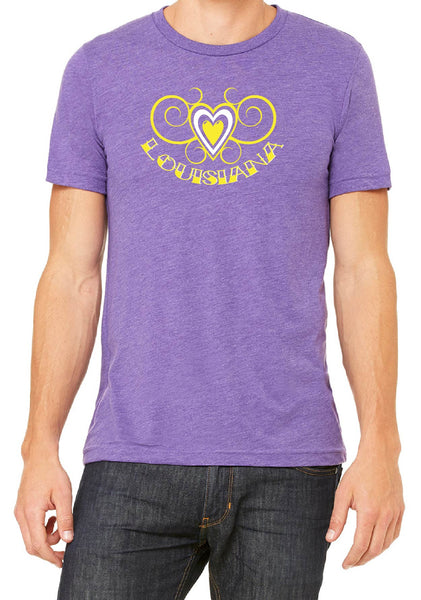 Men's Louisiana Heart Design Short Sleeved T-Shirt