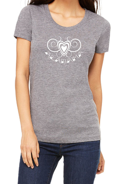 Women's Alabama Heart Design Short Sleeved T-Shirt