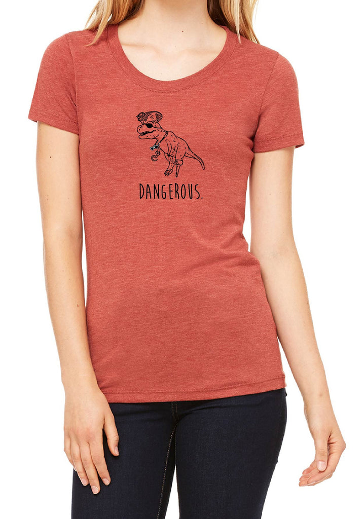 "Women's Dinopirate ""Dangerous"" Short Sleeved T-Shirt"