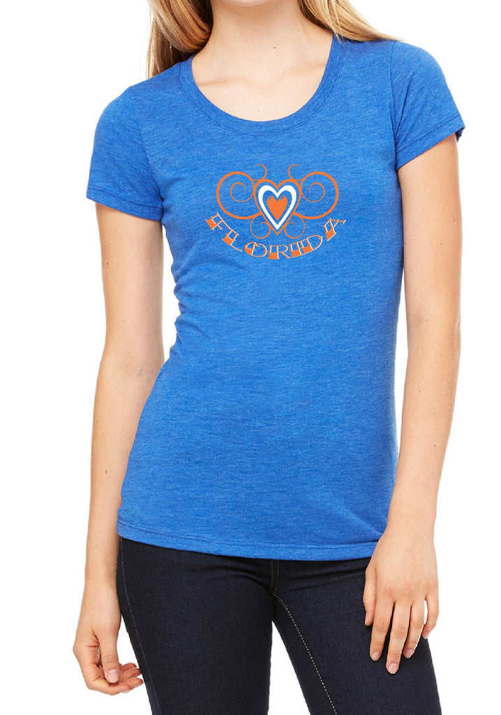 Women's Florida Heart Design Short Sleeved T-Shirt