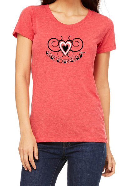 Women's Georgia Heart Design Short Sleeved T-Shirt