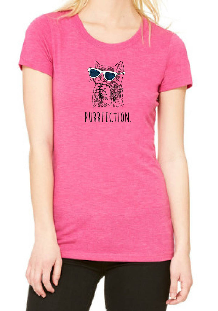 "Women's ""Purrfection"" Cat Short Sleeved T-Shirt"