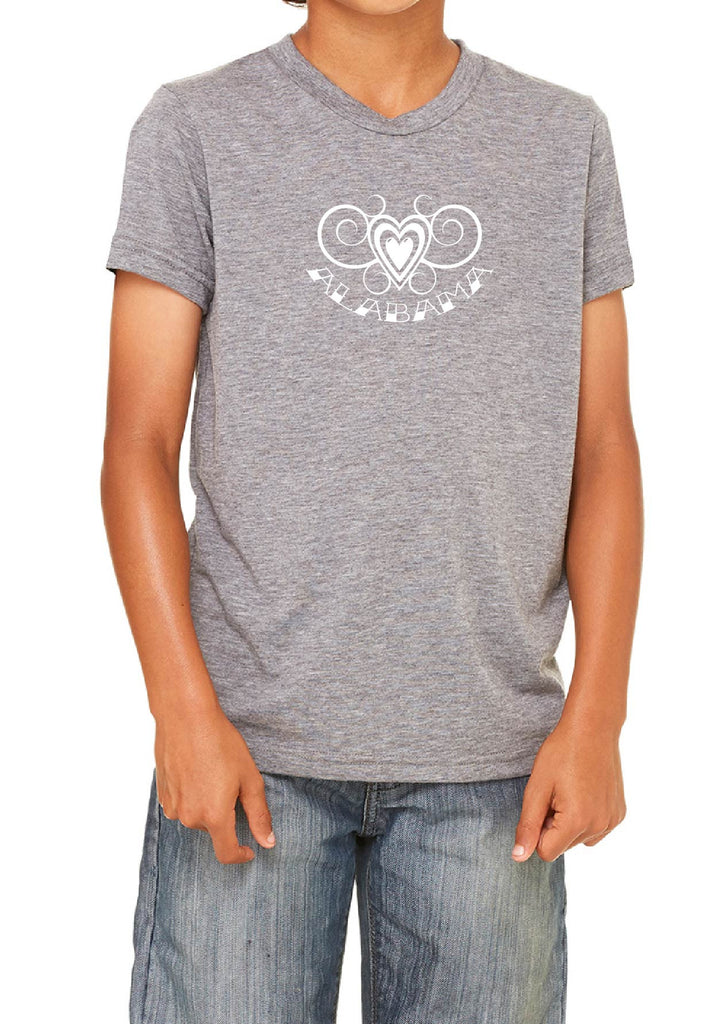 Youth Alabama Heart Design short sleeved T-shirt