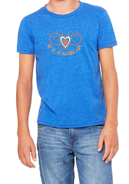 Youth Florida Heart Design Short Sleeved T-Shirt