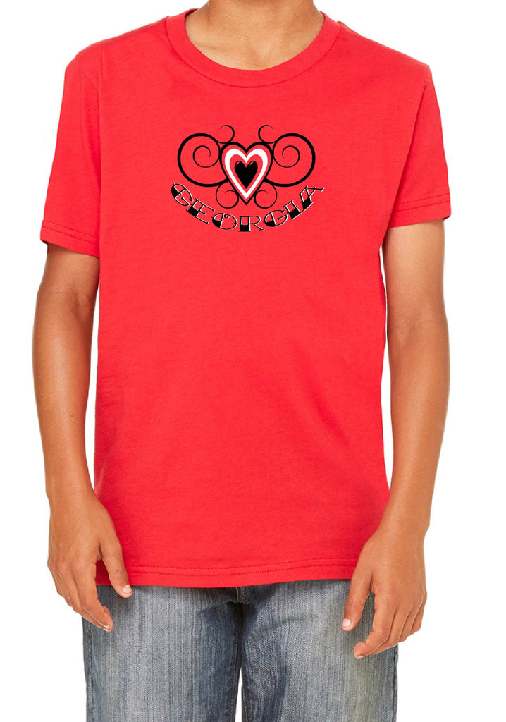 Youth Georgia Heart Design Short Sleeved T-Shirt