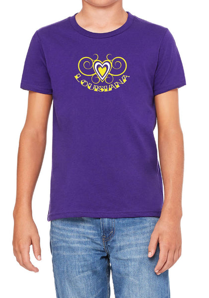 Youth Louisiana Heart Design Short Sleeved T-Shirt