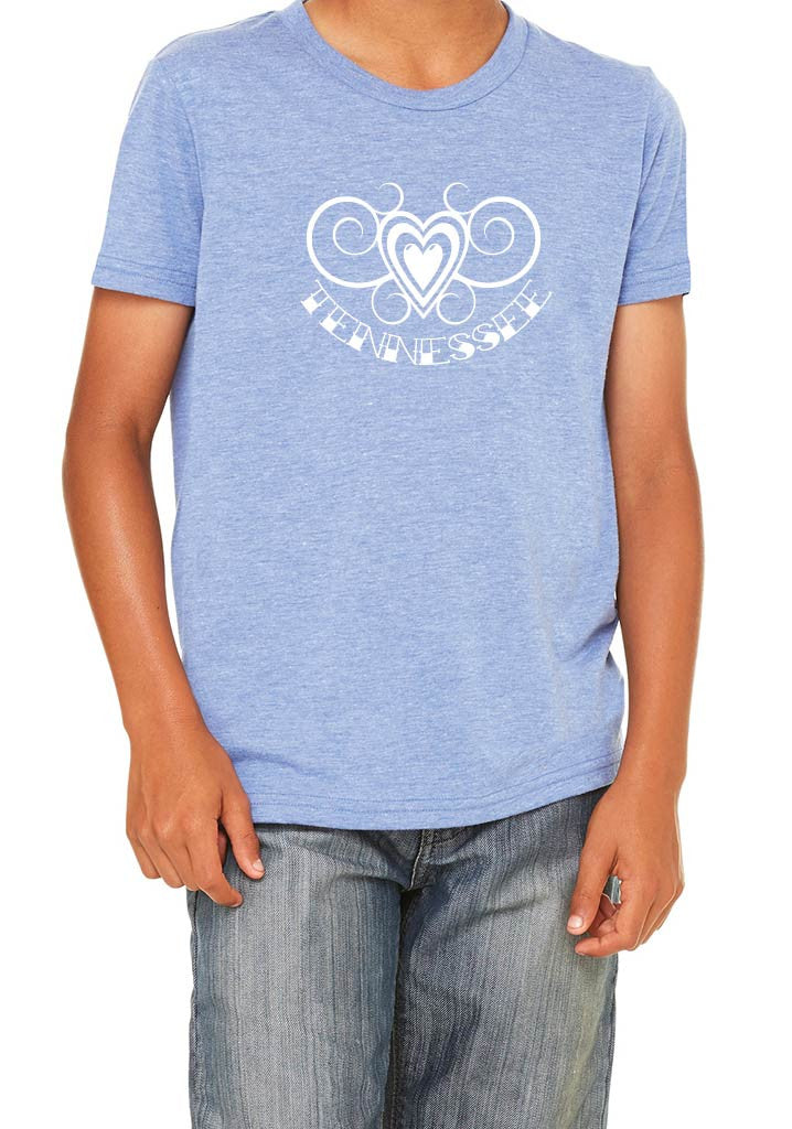 Youth Tennessee Heart Design Short Sleeved T-Shirt