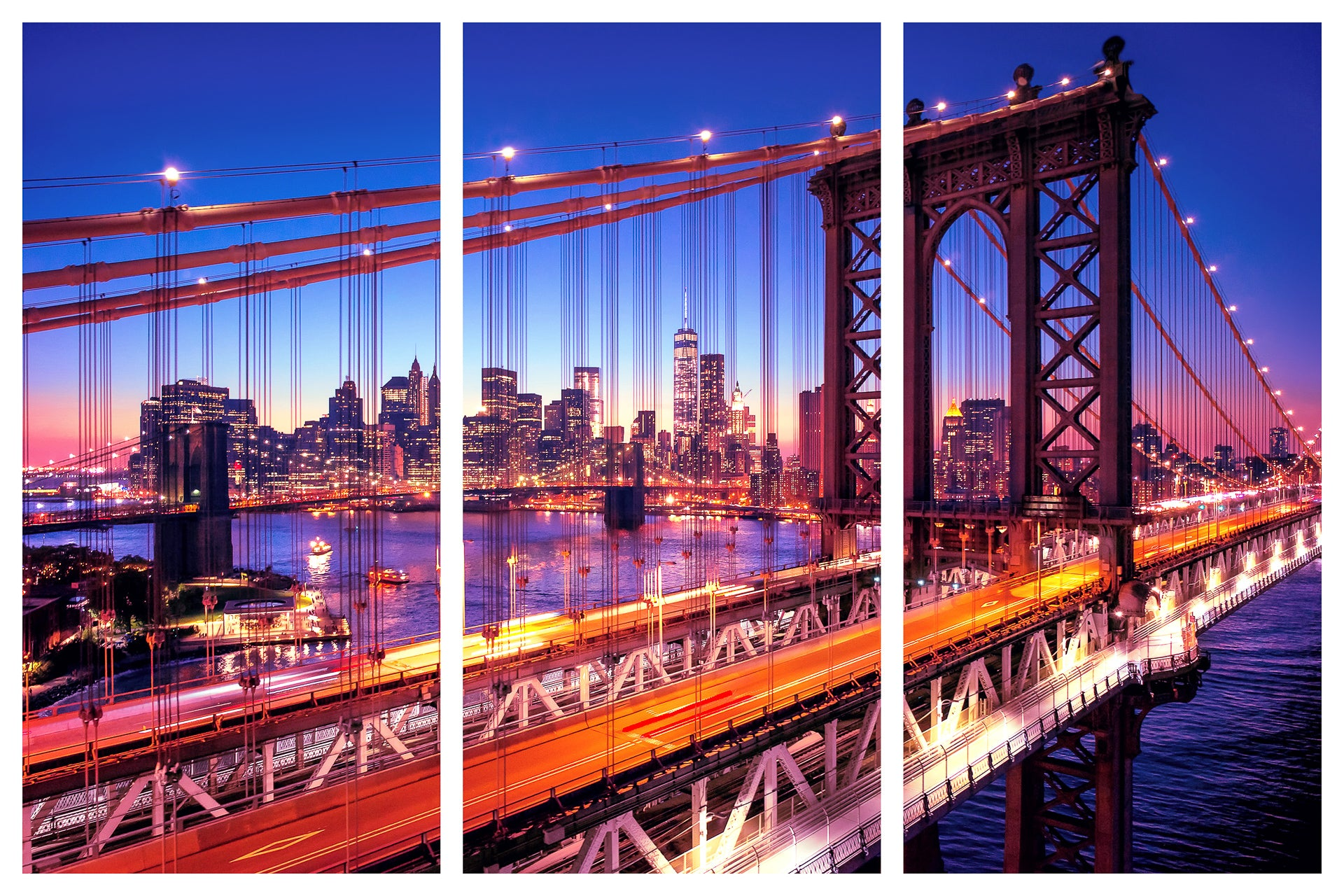 Manhattan Bridge Alive At Night New York City Triptych 3 Panel