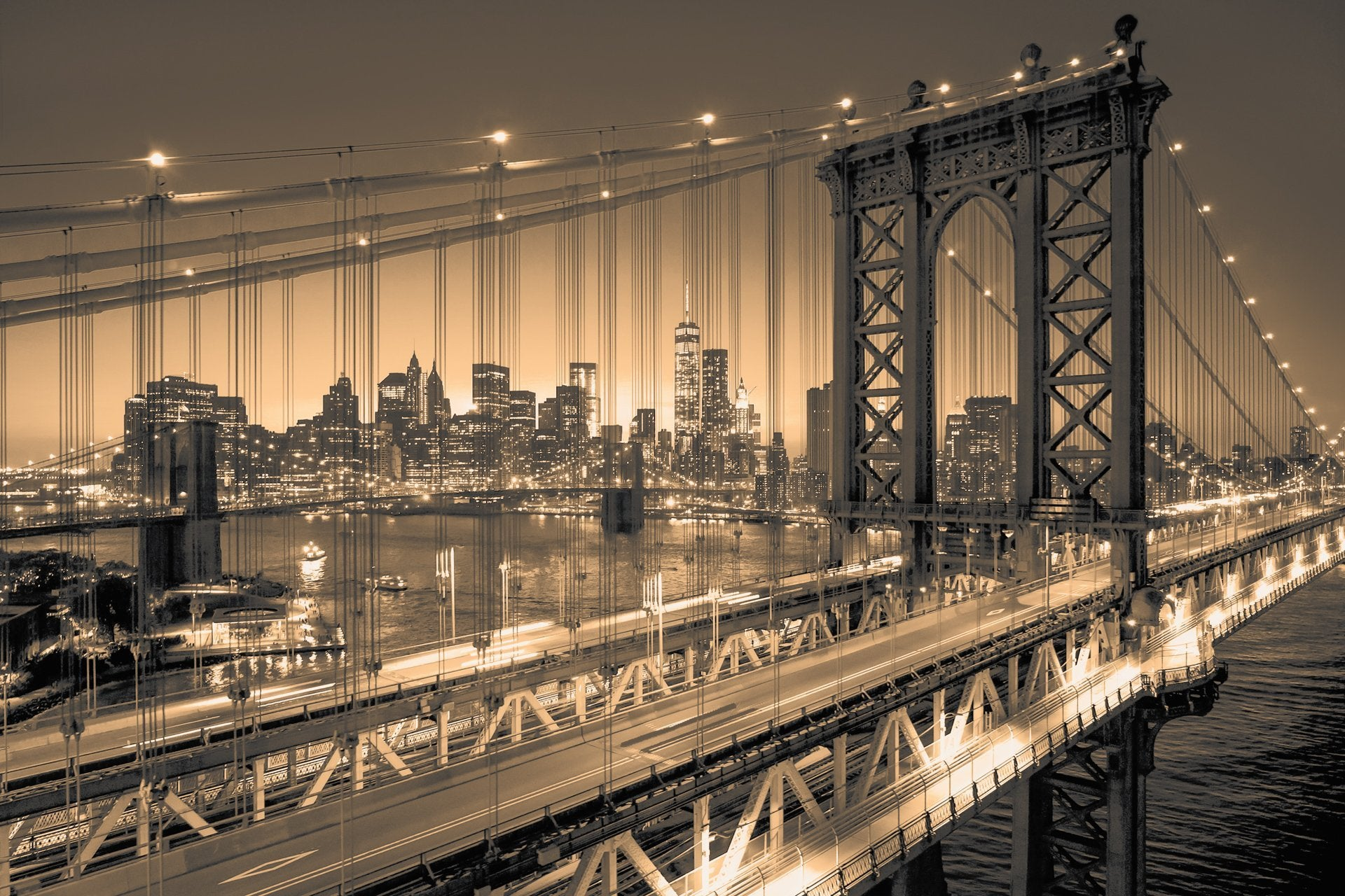 Manhattan Bridge Alive At Night New York City Idesign Gallery