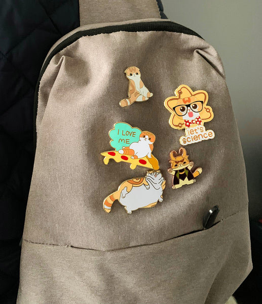 Backpack with Orange Cat Pins Scottish Fold Enamel Pin Badges