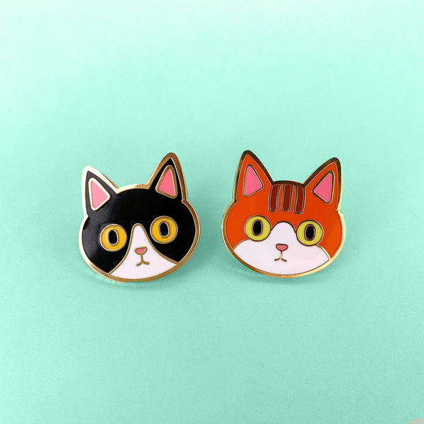 Black Tuxedo Cat Enamel Pin Marmalade Cat Orange Kitty Pin Badge
