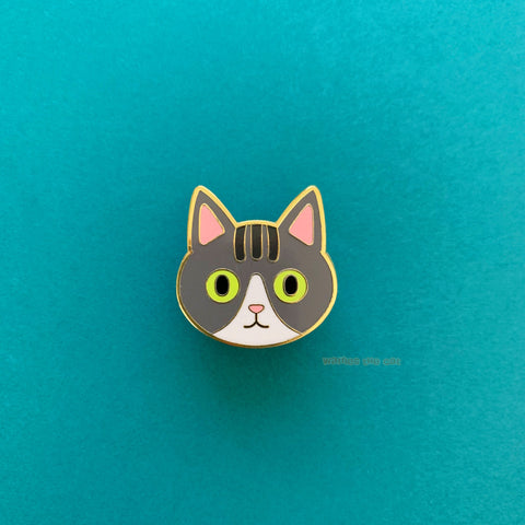 Grey Tabby Cat Enamel Pin