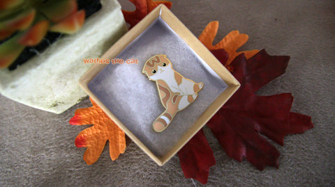 Scottish Fold Enamel Pin | Orange Cat Lapel Brooch | Gift for Cat Lover