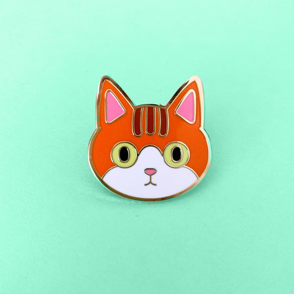 Orange cat enamel pin | Cat brooch | Lapel Pin