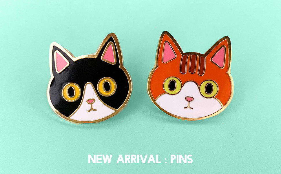 Black cat Orange cat enamel pins
