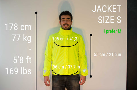 MOVA Cycling Jacket Sizing Guide Backer S
