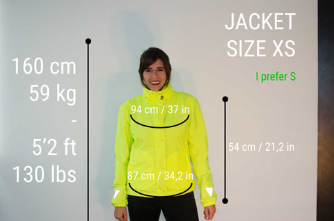 MOVA Cycling Jacket Sizing Guide Cata XS