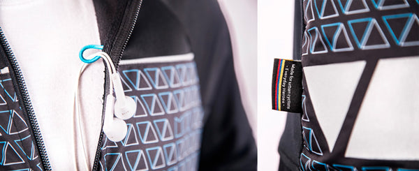 Details of the mova cycling urban jersey reflective stripes and headphone funnel