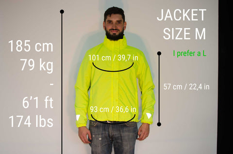 MOVA Cycling Jacket Sizing Guide Fabian M