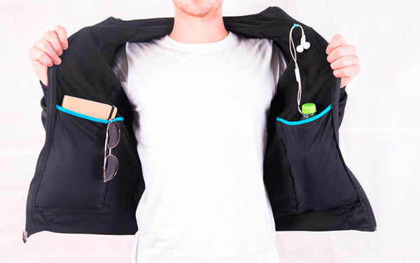 Breathable urban cycling jersey inside view with big inner pockets