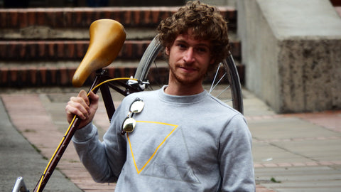 Simon with the MOVA Cycling Sweater 2.0 in Bogota, Colombia
