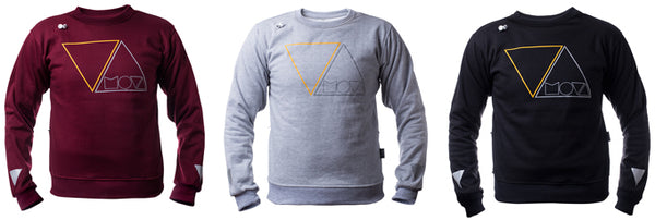 3 colors of the MOVA Cycling sweater - Red wine - Black and Grey