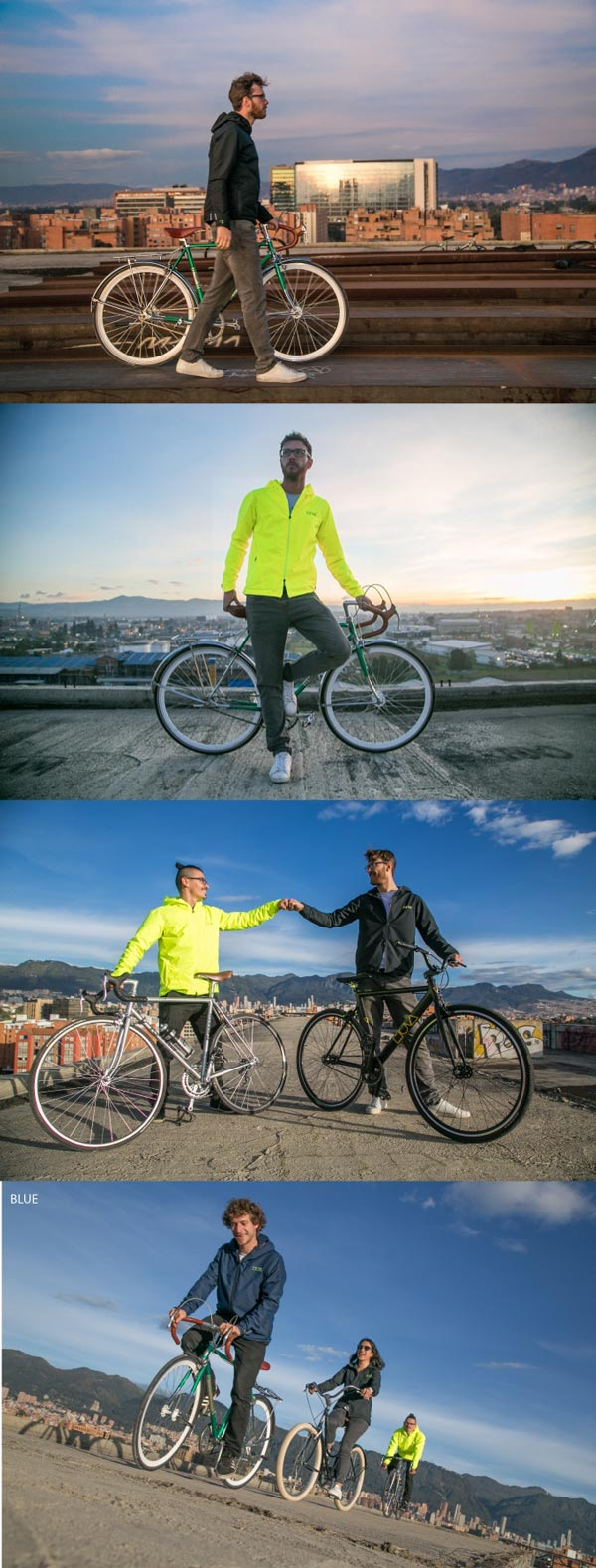 MOVA Freedom Ride Jacket 100% waterproof lifestyle fotos yellow black and blue cycling jacket