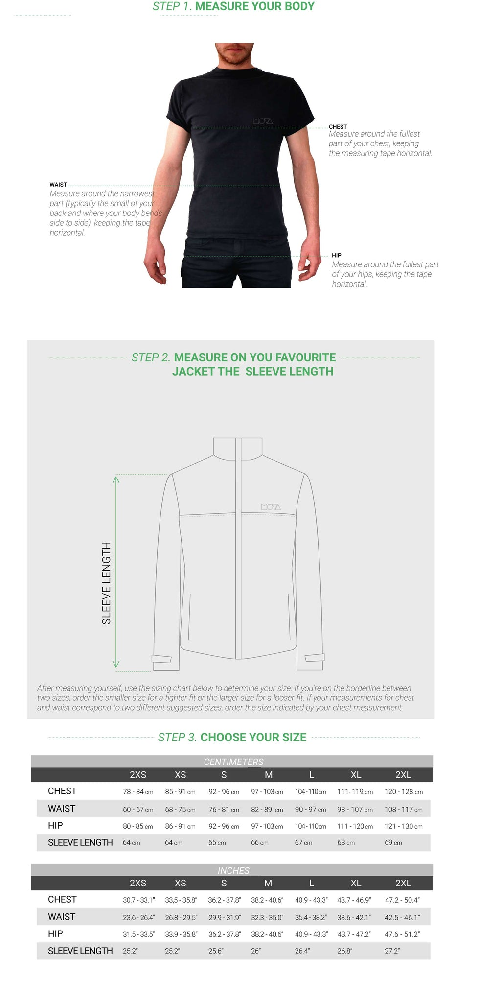 MOVA Cycling Sizing Guide 2018 Freedom Ride Jacket
