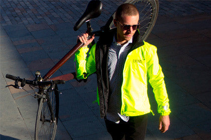 Mova Cycling Jacket simon with his bike