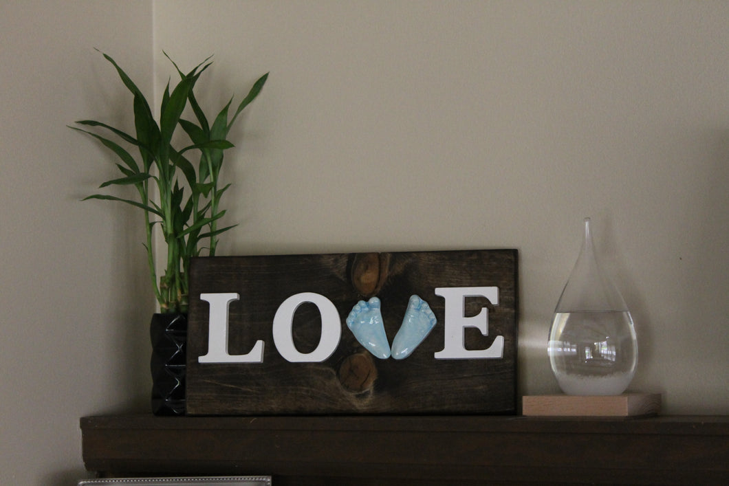 Love Custom Ceramic Handprint or Footprint Wooden Sign