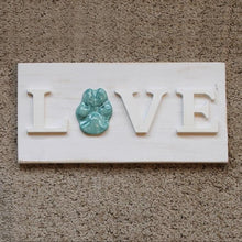 Load image into Gallery viewer, Love Custom Ceramic Dog Paw Print Wooden Sign