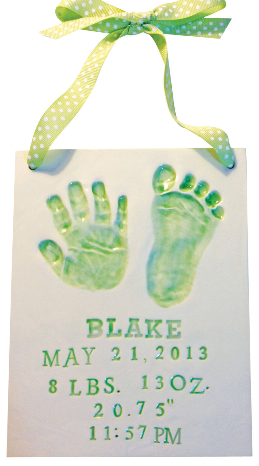 Newborn Baby Handprint Clay Keepsake - Memories In Clay