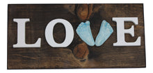 Load image into Gallery viewer, Love Custom Ceramic Handprint or Footprint Wooden Sign
