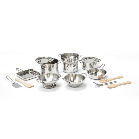 Deluxe Stainless Steel Pots & Pans Play Set