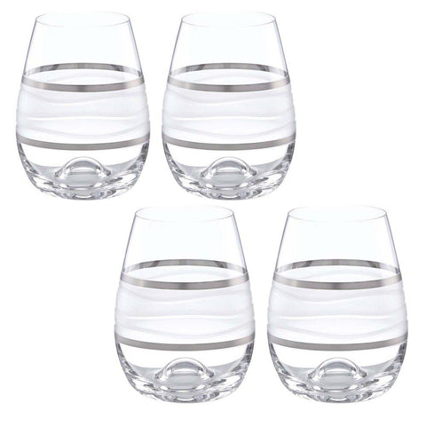 Ile de Re Platinum Stemless Wine, Set of 4