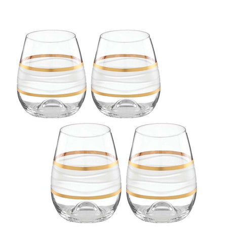 Ile de Re Gold Stemless Wine, Set of 4