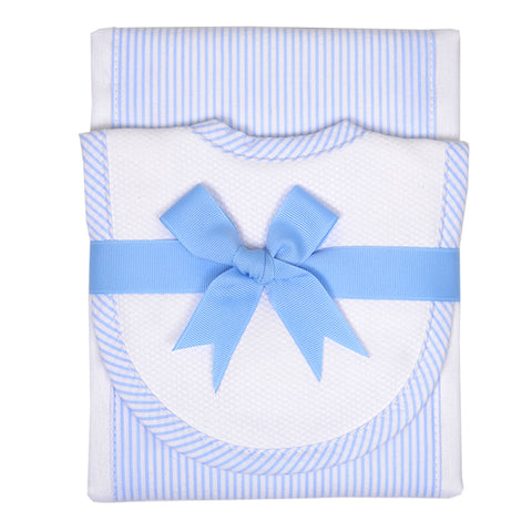 Blue Seersucker Stripe Drooler Bib & Burp Set