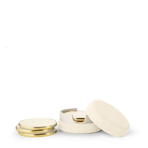 Shagreen Coaster Cream, Set of 4