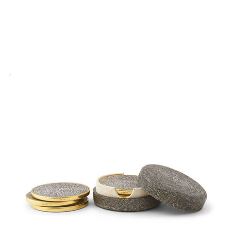 Shagreen Coaster Chocolate, Set of 4