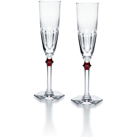 Harcourt Eve Flute Clear & Red, Set of 2