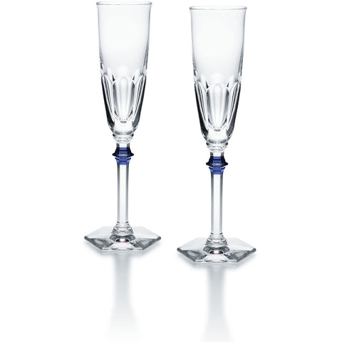 Harcourt Eve Flute Clear & Blue, Set of 2
