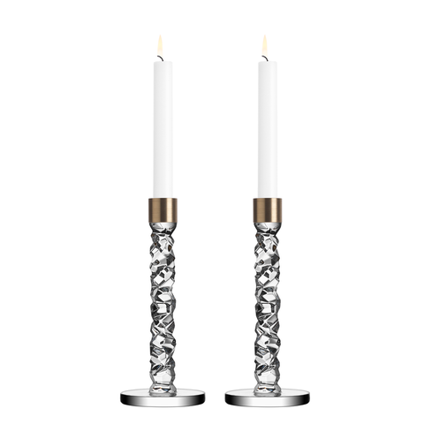 Carat Candlestick Medium Pair Brass