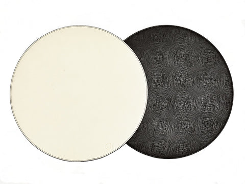 Black & Off White Round Reversible Placemat