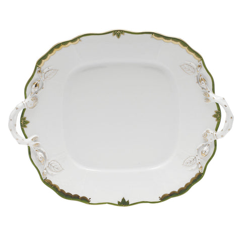 Princess Victoria Dark Green Square Cake Plate