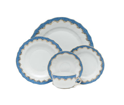 Fish Scale Dinnerware Blue