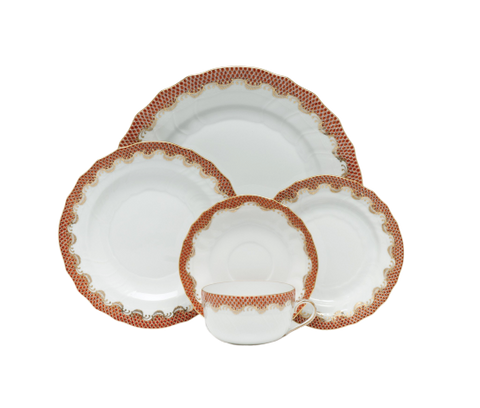 Fish Scale Dinnerware Rust