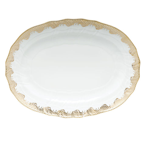Fish Scale Oval Platter Gold