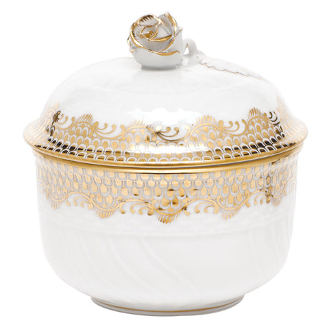 Fish Scale Covered Sugar Bowl with Rose Gold